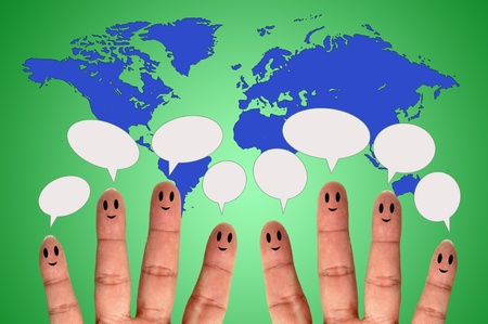 Finger smileys with speech bubbles