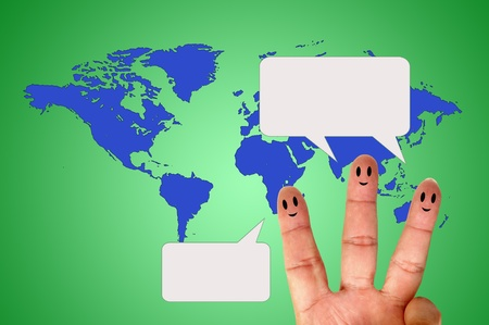 Finger smileys with speech bubbles Stock Photo - 9975245
