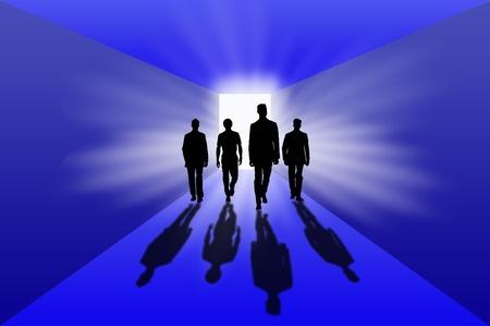 Silhouette and shadows of people walking Standard-Bild