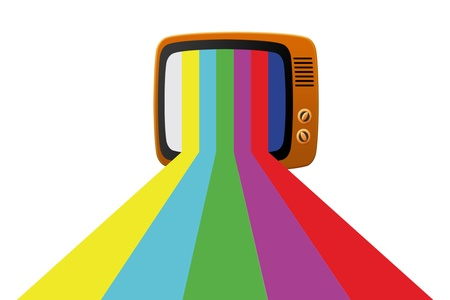 Retro tv with color screen on white Stock Photo - 10092430