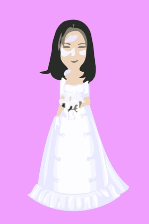 Cartoon Bride in a white wedding dress  Stock Photo - 10134537