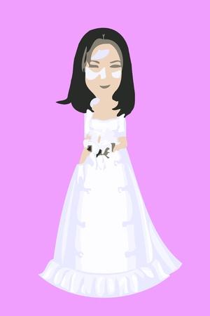 Cartoon Bride in a white wedding dress Stock Photo - 10134537
