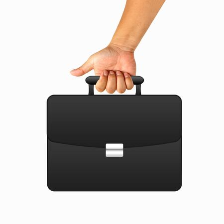black briefcase: Hand with black briefcase