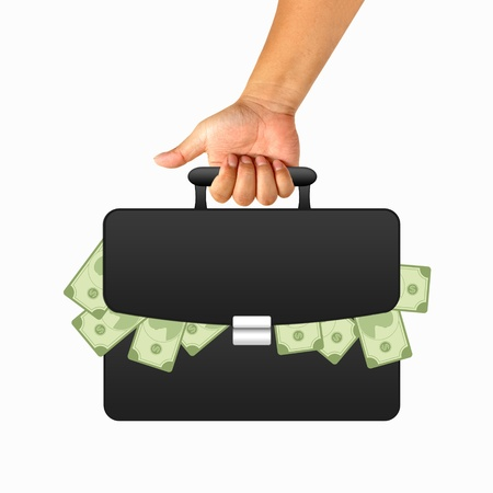 Hand with black briefcase and money photo