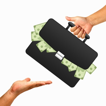 Hand with black briefcase and money Stock Photo - 10310498
