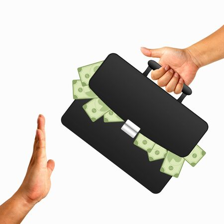 black briefcase: Hand with black briefcase and money Stock Photo