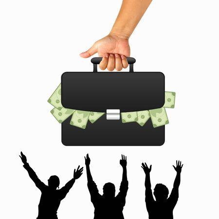 black briefcase: La mano con su malet�n negro y el dinero Foto de archivo