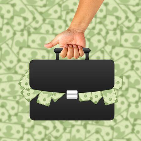 black briefcase: Mano con el malet�n negro y el dinero