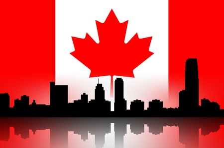 canada flag: Building silhouettes of a city and flag