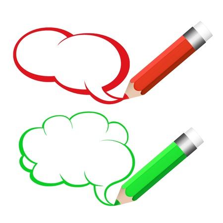 Speech bubble and pencil  Standard-Bild