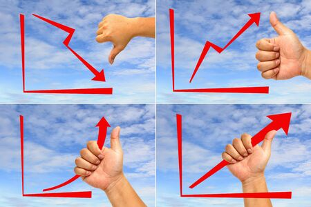 Red arrow graph with hand Collected photo