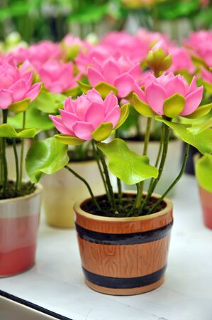 Beautiful bouquet of artificial lotus flowers photo