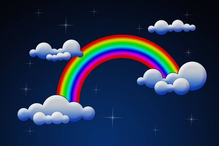 rainbow with clouds Stock Photo - 10719635