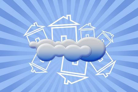 Conceptual image - House in clouds photo