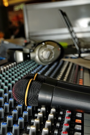 Part of an audio sound mixer with a microphone  photo