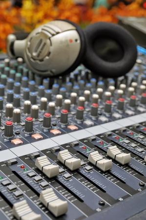 Part of an audio sound mixer photo