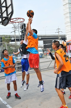 Pathumthani, Thailand January 15. Student basketball tournament. Job title-FUTURE PARK SHOOTIT STREET ON 3. At shopping center future park, Pathumthani, Thailand.