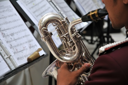 Musicians are playing on trumpet  Editorial