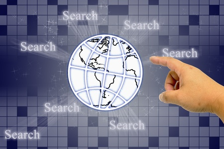 Hand clicking internet search page with earth photo