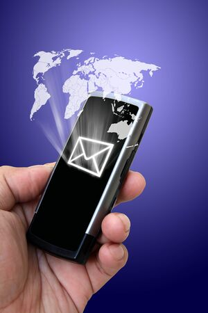 Mobile phone in the hand with messages Stock Photo - 12886493