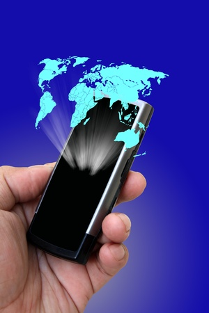 Mobile phone in the hand with messages photo