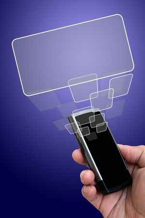 Mobile phone in the hand with touch screen button photo