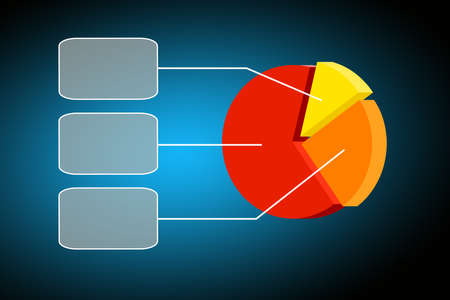 Flying transparent button with colorful pie chart- graph Stock Photo - 13044026