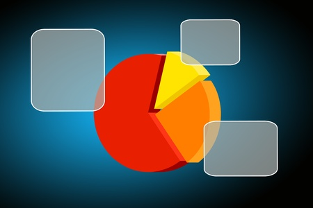 Flying transparent button with colorful pie chart- graph photo