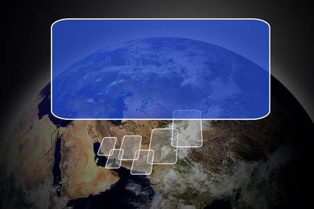 Flying transparent button with earth globe photo