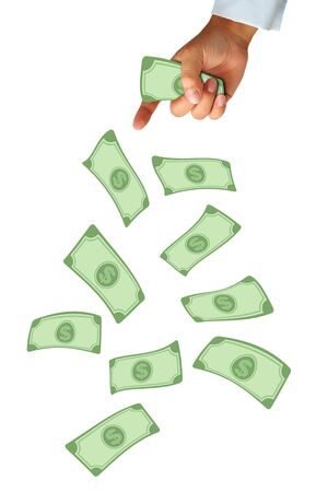 Hand and falling money isolated on white background photo