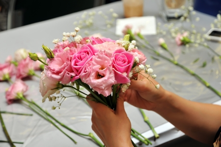 arrange: Hand Arranging Flower At school