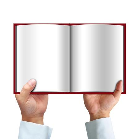 Livre ouvert dans la main isolé sur fond blanc Banque d'images