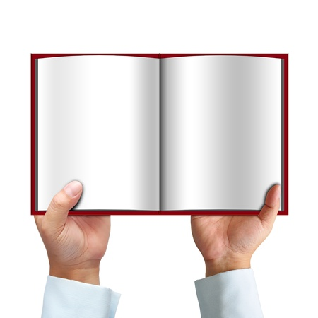 Opened book in hand isolated on white background  photo