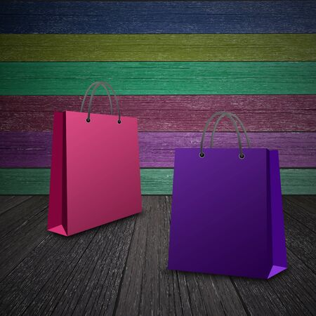 Shopping bag isolated on wood background photo