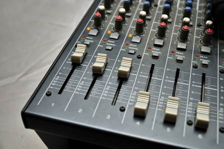 Part of an audio sound mixer photo