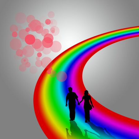 Silhouette of couple on rainbow with Dreams photo