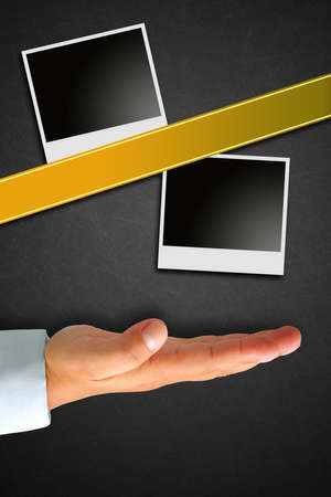 Instant picture on Blackboard with hand Stock Photo - 14210582