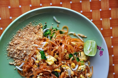 Thai food Pad thai, Stir-fried rice noodles photo