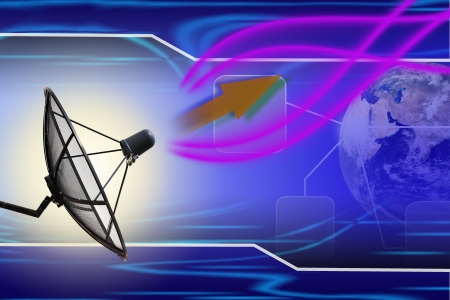 communications: Satellite dish transmission data earth background
