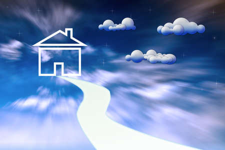 Icon House in clouds photo