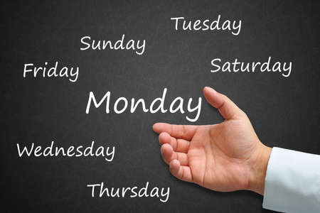 Monday Written on Blackboard with hand Stock Photo - 14911894