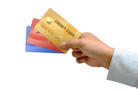 carte de crédit main tenant isolé sur blanc