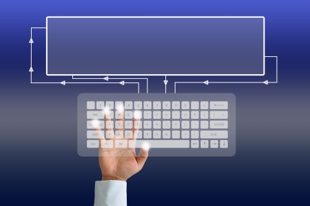 Hand on Keyboard Stock Photo - 15167004