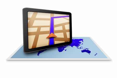 Touchpad gps with world map photo