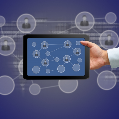 Tablet and social network, Communication in the global computer network Stock Photo - 15501152