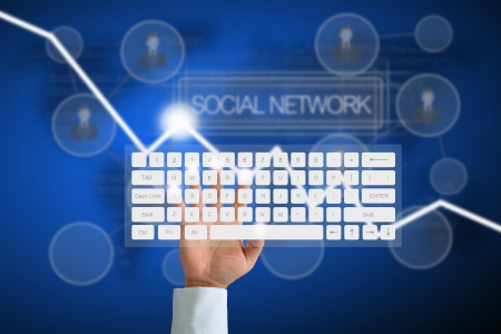 Hand on Keyboard with human icon button and social network background photo