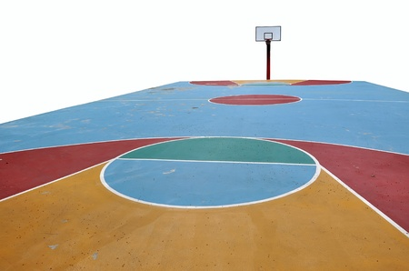 Basketball court on the white background photo
