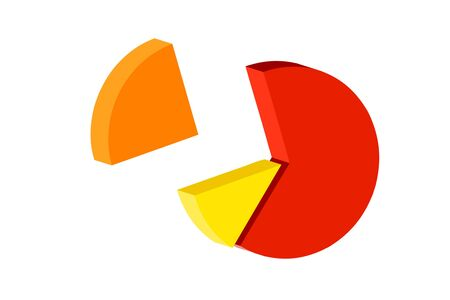 colorful pie chart- graph isolated on white background photo