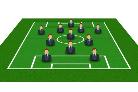 Football Field with Icon Soccer Player Tactics 4-1-2-1-2