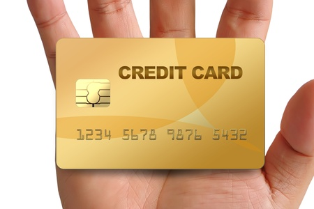 Hand holding credit card isolated on white background photo